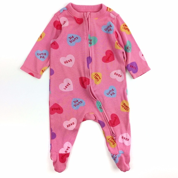 Old Navy Conversation Hearts Footed One-Piece